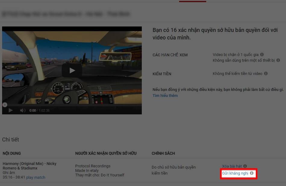 Bấm nút Gửi Kháng Nghị để truy cập trang kháng cáo Youtube