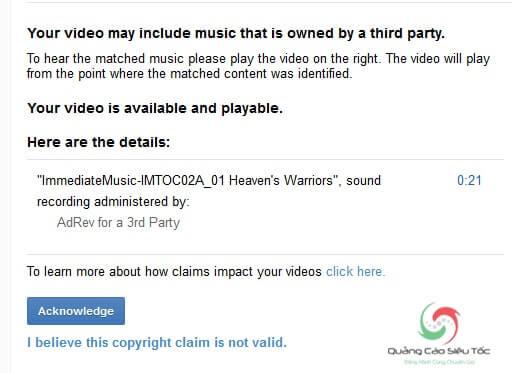 Vi phạm bản quyền do khớp ID nội dung có sẵn của Youtube