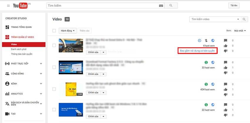 Truy cập mục video để kháng cáo Youtube