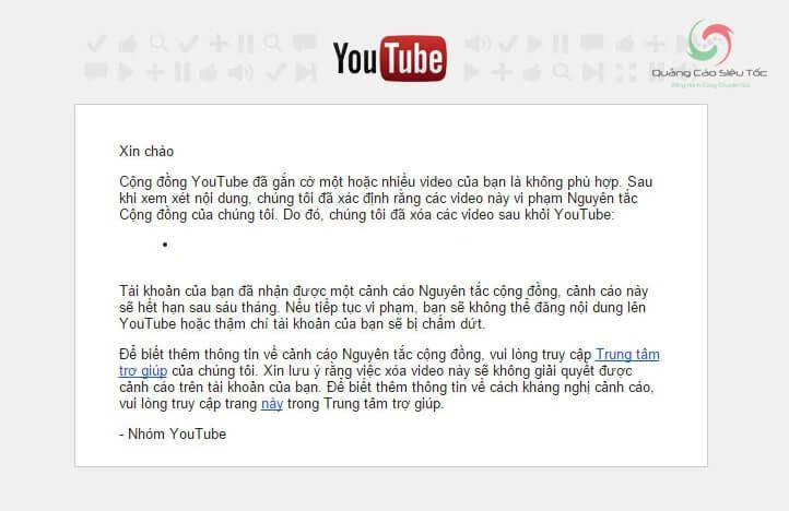 Mail thông báo vi phạm nguyên tắc cộng đồng Youtube