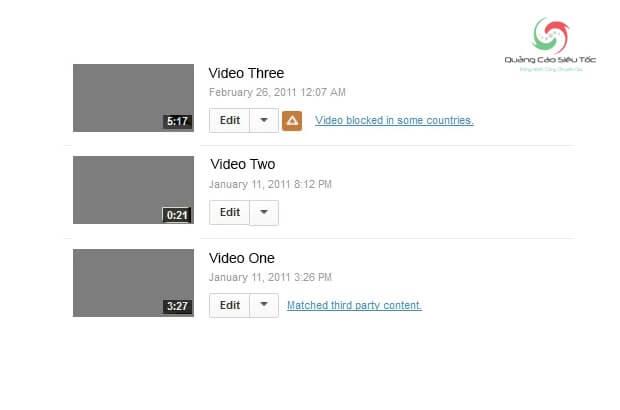 Thông báo video bị khóa ở một số quốc gia