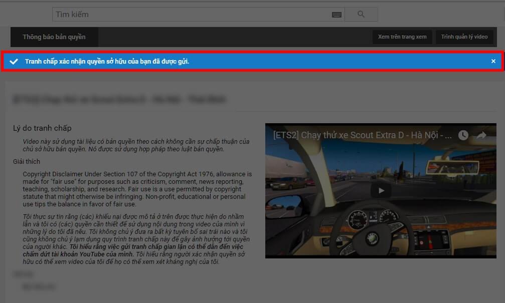 Thông báo xác nhận đã gửi kháng cáo đến Youtube