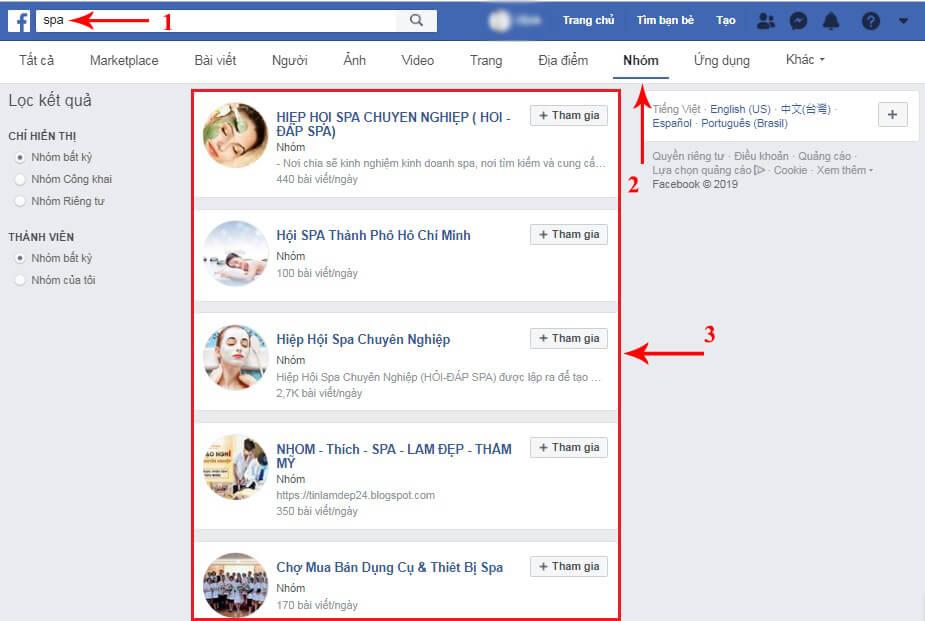 không tìm thấy nhóm trên facebook