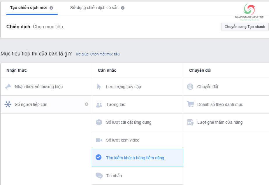 Chọn mục tiêu tìm kiếm khách hàng tiềm năng để tạo form đăng ký trên facebook
