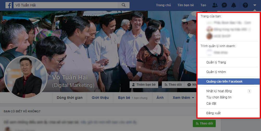 Nhấp vào nút Quảng Cáo Trên Facebook