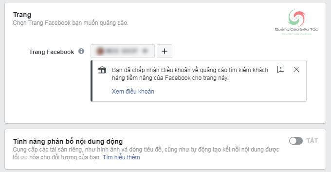 Chọn trang Facebook cần quảng cáo