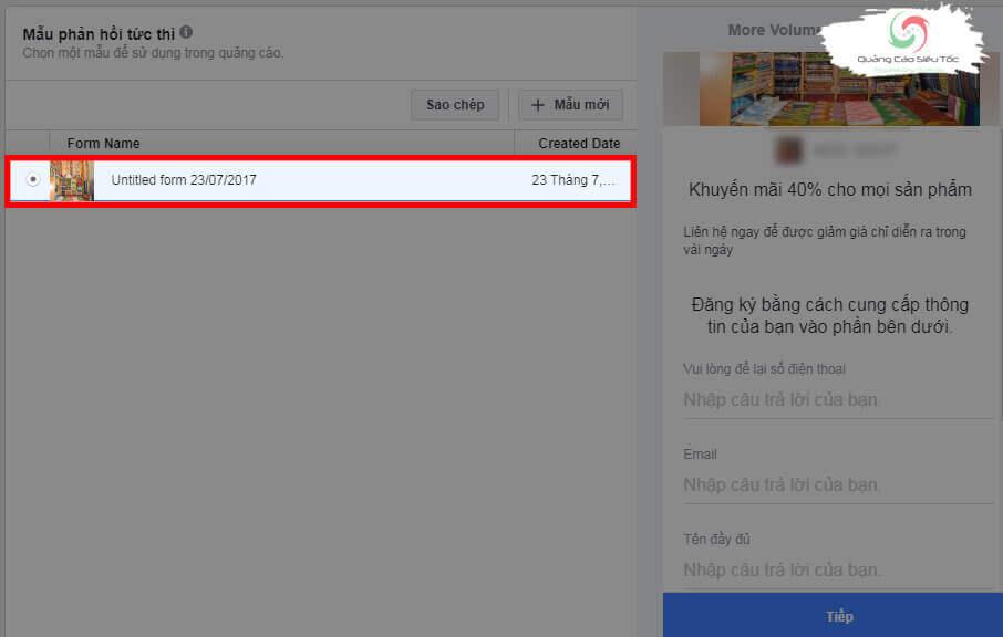 Chọn form lead ads cần đưa vào quảng cáo Facebook