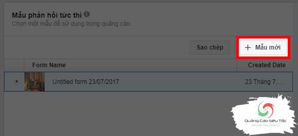 Tạo mới form đăng ký trên Facebook
