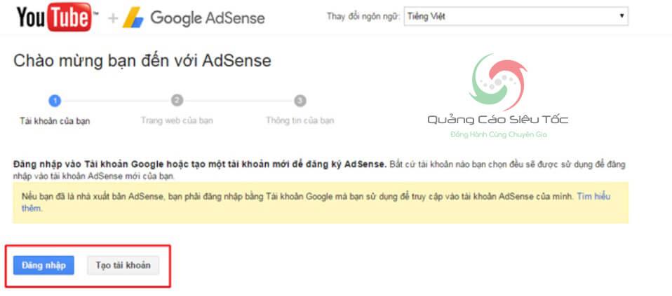 liên kết adsense với youtube