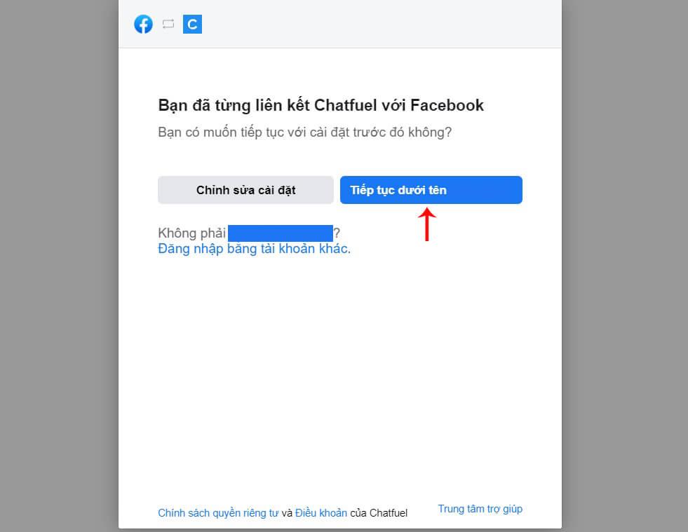 liên kết chatfuel với facebook