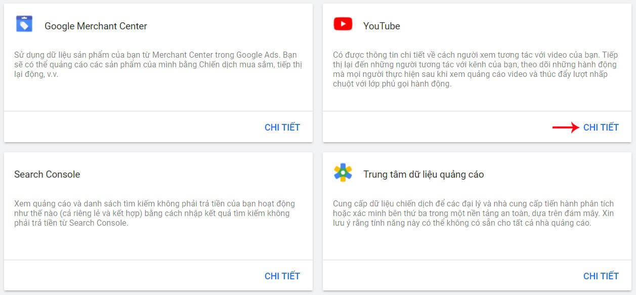 liên kết google ads với youtube