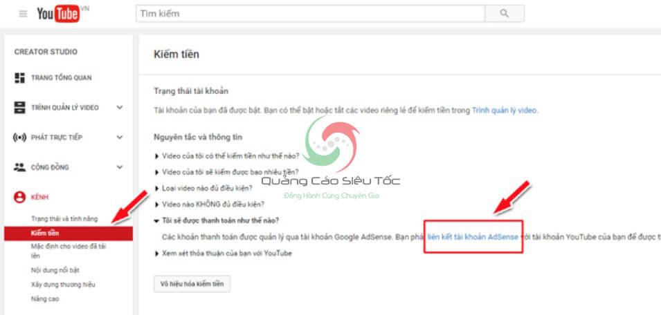 liên kết youtube với google adsense