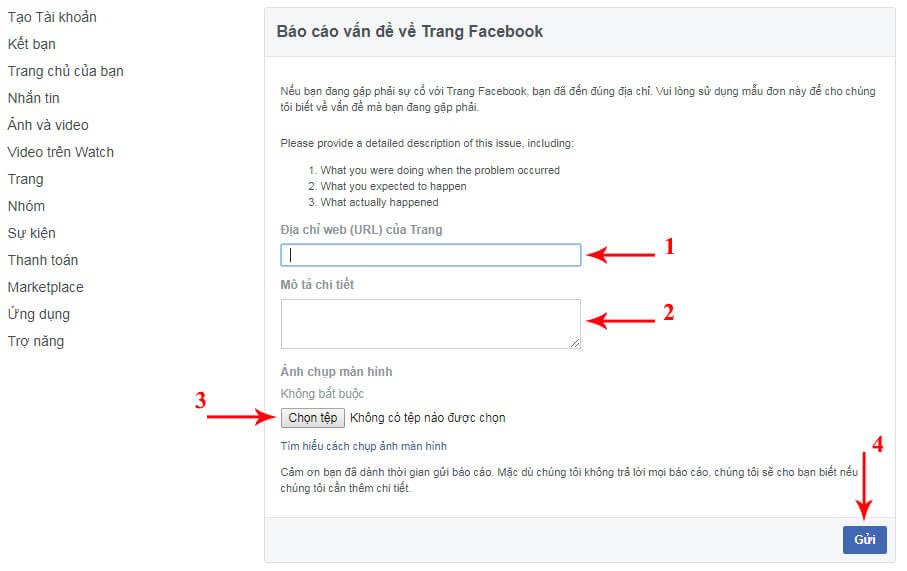 link kháng nghị fanpage bị hủy đăng
