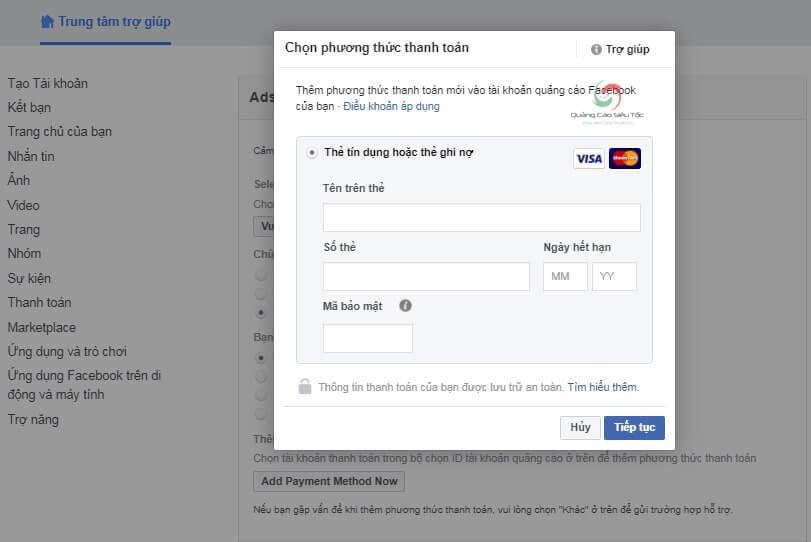 Nhập thông tin thẻ để gửi Facebook xét duyệt