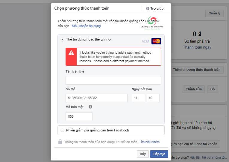 Thông báo lỗi phương thức thanh toán Facebook bị từ chối