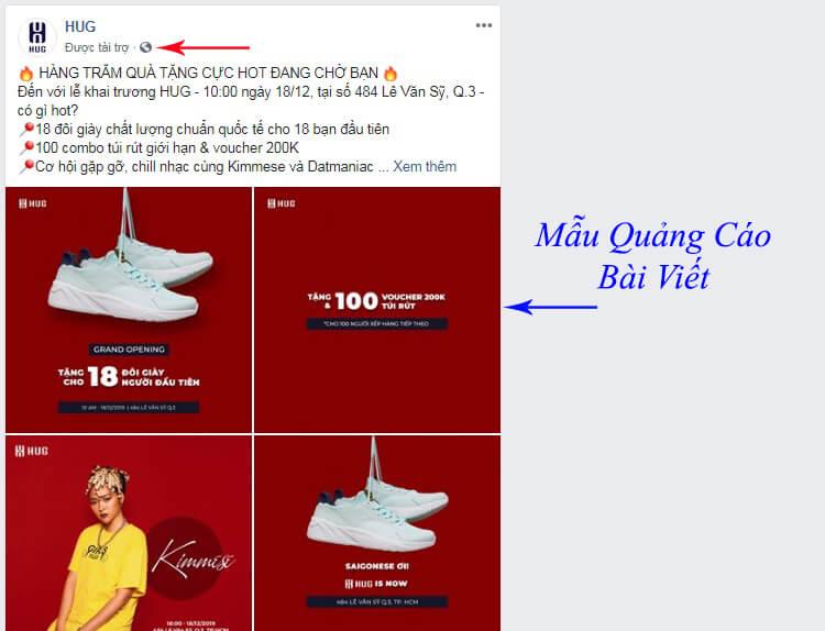 mẫu quảng cáo bài viết facebook