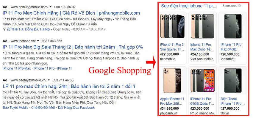mẫu quảng cáo google shopping cột dọc