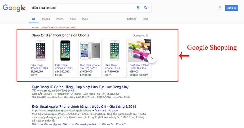 mẫu quảng cáo google shopping cột ngang