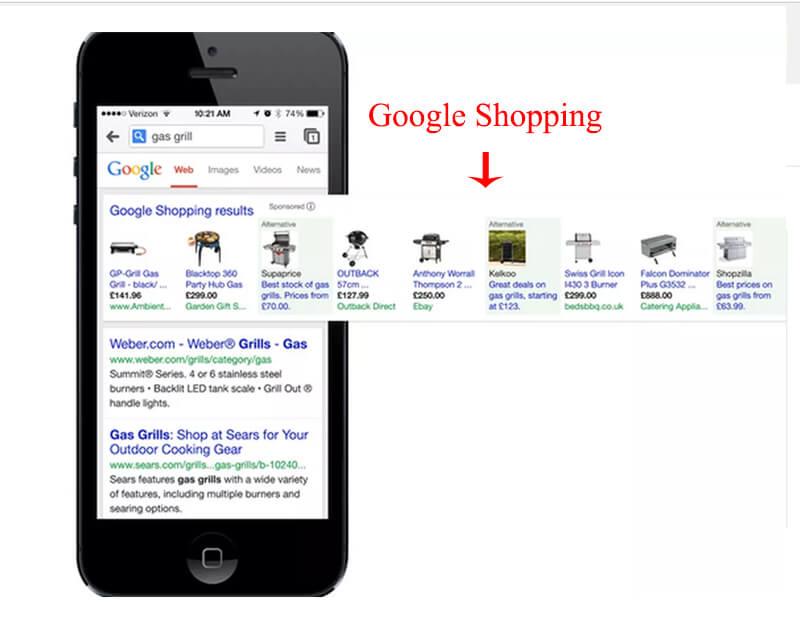 mẫu quảng cáo google shopping mobile