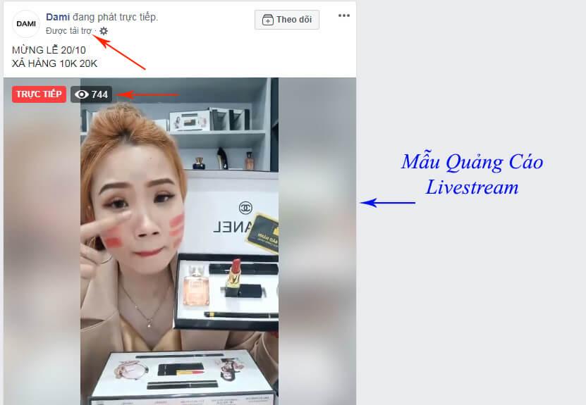 mẫu quảng cáo livestream facebook