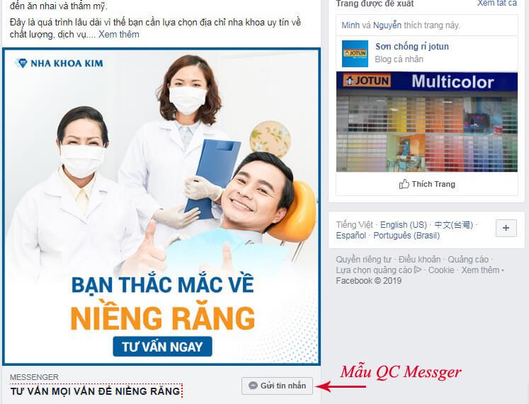 mẫu quảng cáo tin nhắn facebook