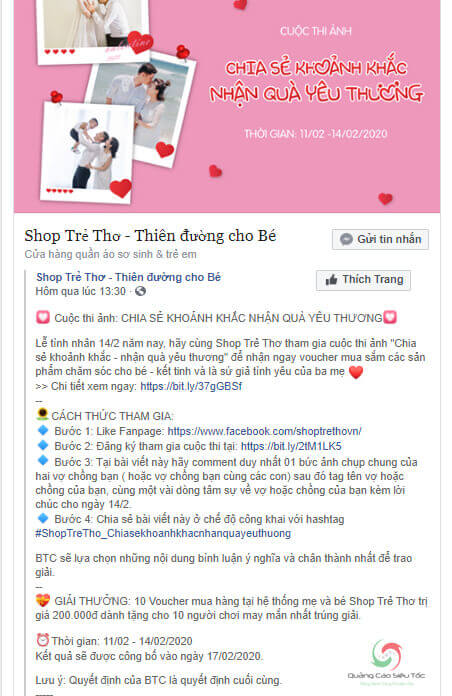Mẫu mini game yêu cầu viết về chủ đề yêu thích của Shop Trẻ Thơ