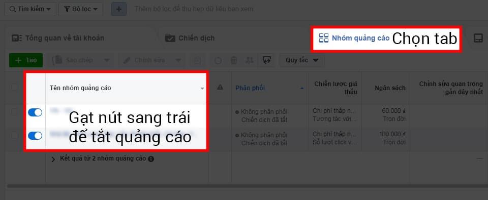 Cách dừng Nhóm quảng cáo đang chạy trên Facebook