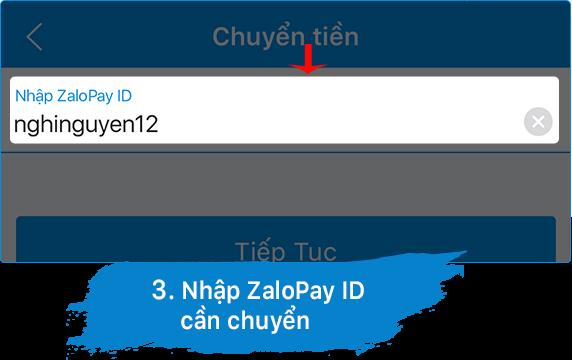 nhập id zalo page chuyển tiền