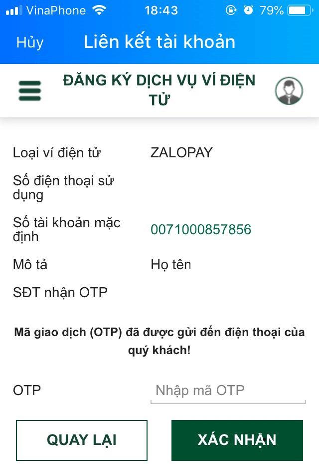 nhập otp zalo pay