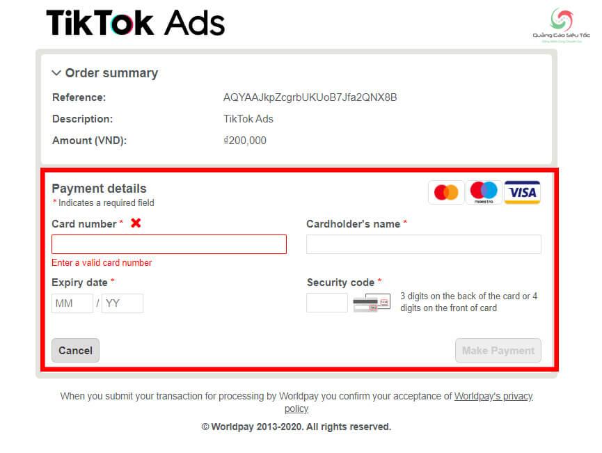 Nhập thông tin thẻ thanh toán tiền quảng cáo Tik Tok