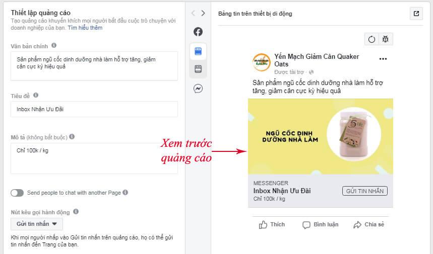 nội dung quảng cáo messenger facebook