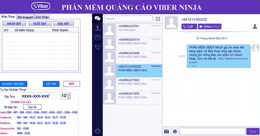 phần mềm quảng cáo trên viber