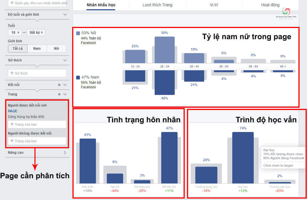 Quản lý fanpage bằng công cụ Facebook Audience  Insight