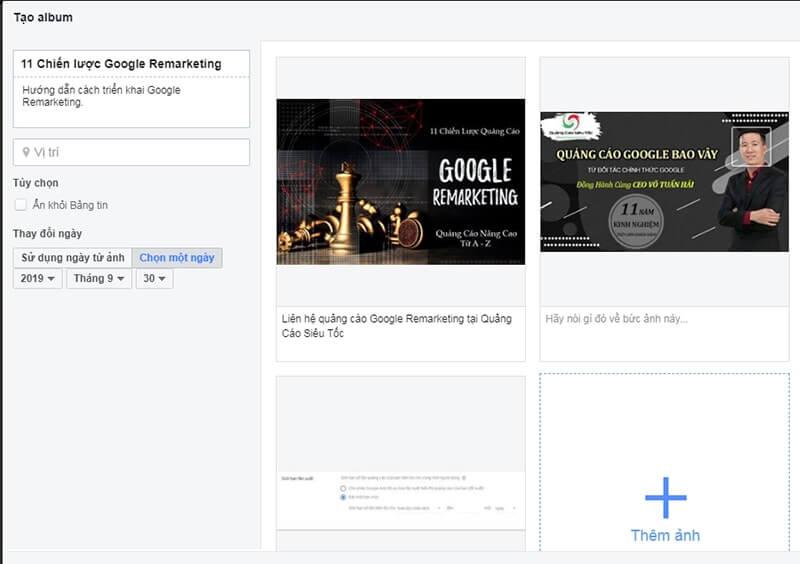 Thêm thông tin vào album để chạy quảng cáo Facebook