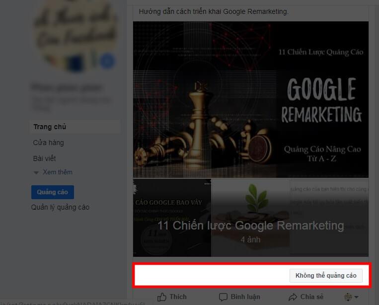 Tình trạng không thể chạy quảng cáo album Facebook