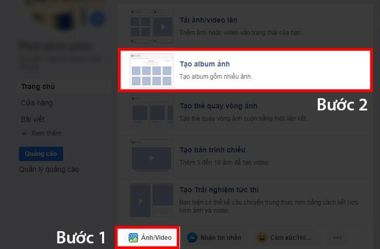 Bấm nút để tạo album chạy quảng cáo Facebook