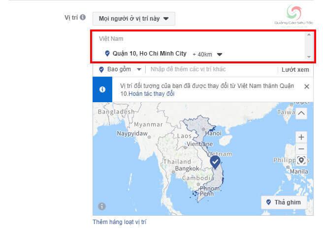 Target vị trí địa lý hiển thị quảng cáo spa