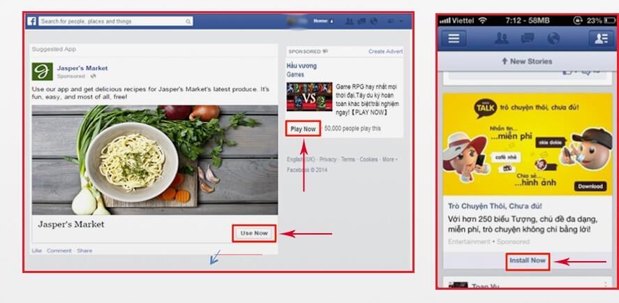 quảng cáo ứng dụng trên Face Book