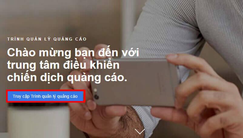 Nhấp vào nút truy cập trình quản lý quảng cáo
