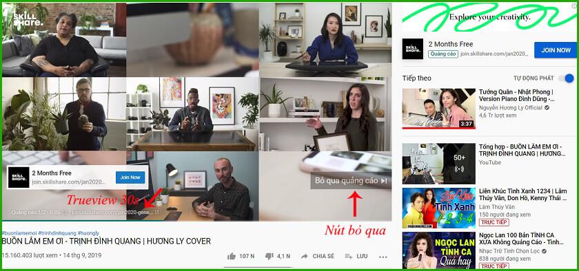 Quảng cáo youtube trueview 30 giây