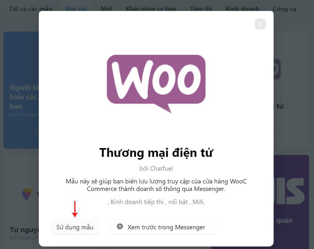 sử dụng mẫu chatfuel
