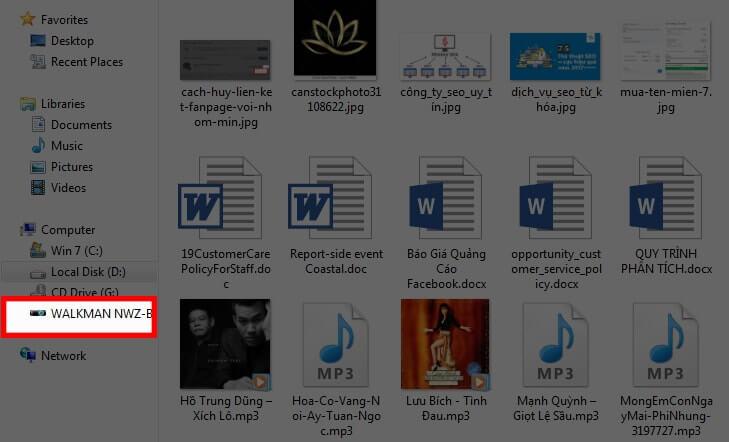 Nhấp vào tên USB để tải nhạc từ Youtube về USB