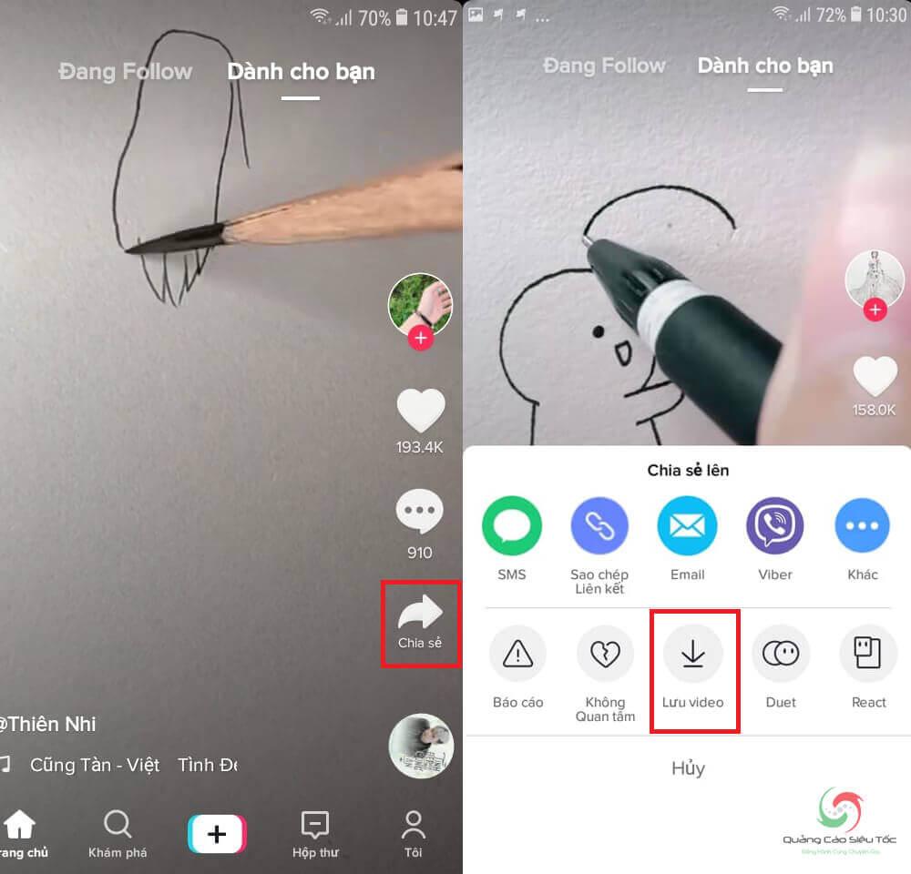 Cách tải video Tik Tok về máy bằng nút chia sẻ