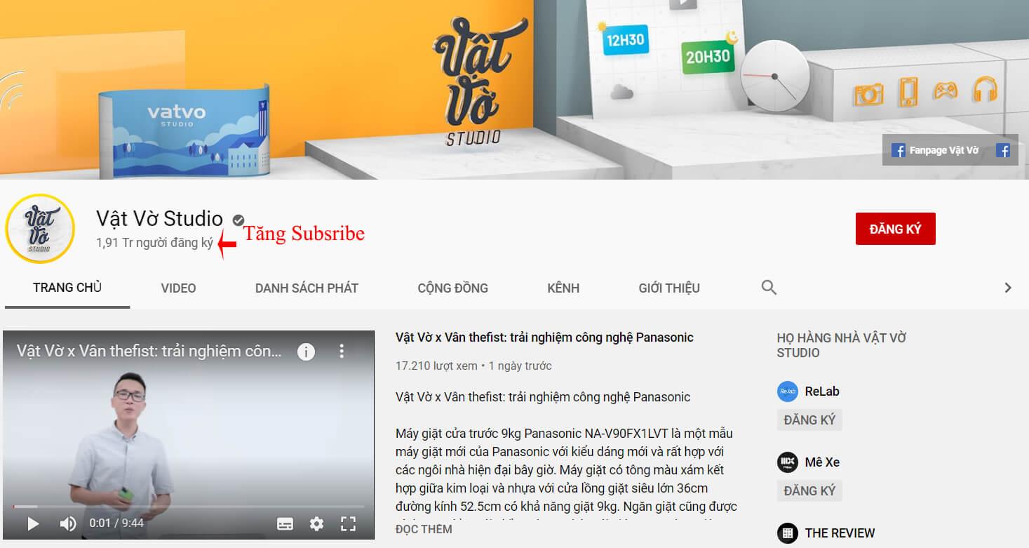 tăng subscribe kênh youtube