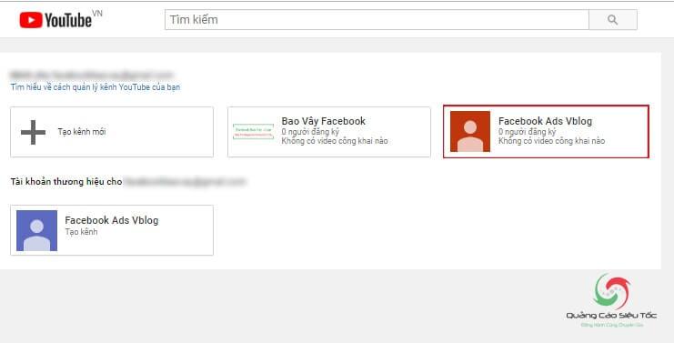 Danh sách các kênh Youtube đã tạo từ tài khoản chính