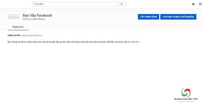 Giao diện kênh Youtube chính mới tạo