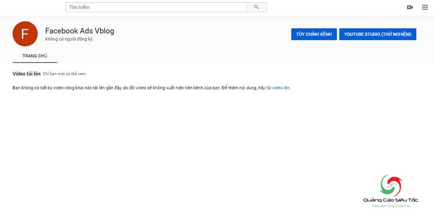 Nhập tên kênh Youtube thương hiệu mới tạo