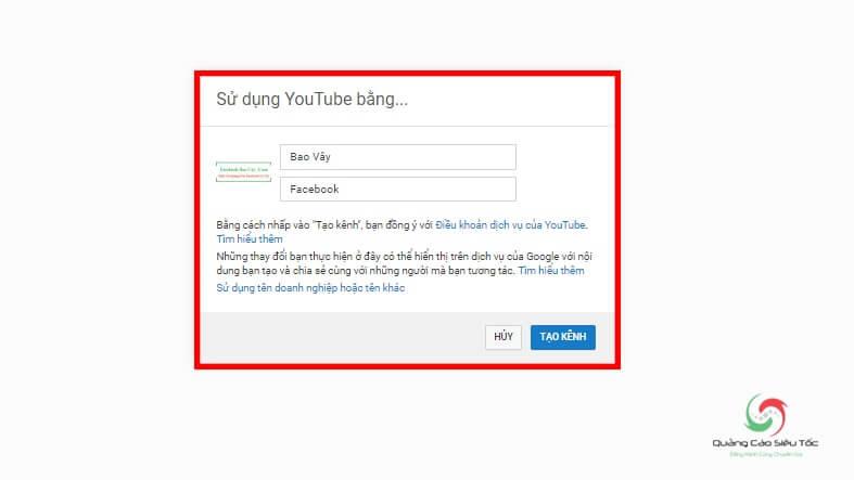 Nhập tên kênh Youtube chính muốn sử dụng