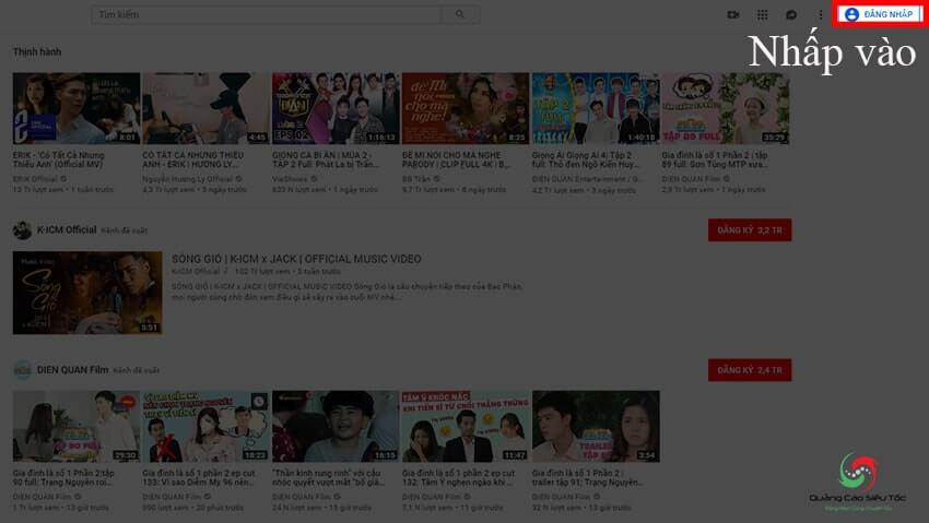 Nhấp vào nút đăng nhập để tạo tài khoản Youtube