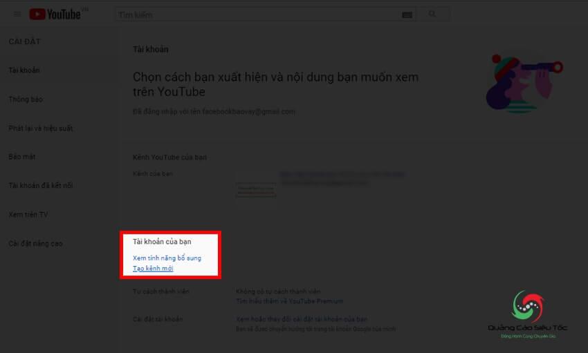 Bấm vào nút để tạo kênh trên Youtube mới